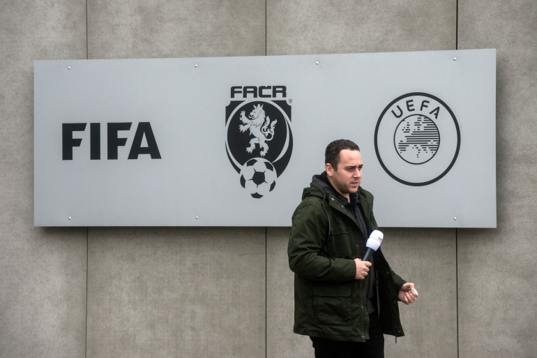 Local media (pictured) said those detained included Berbr, a controversial deputy chairman of the Czech Football Association [Michal Cizek/AFP]