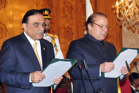 The cases against Zardari, left, and Sharif, right, came ahead of their political alliance planning an anti-government rally [File: AFP]