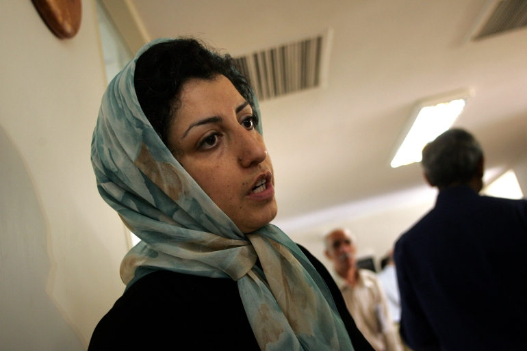 Narges Mohammadi served eight and a half years of her 10-year prison sentence [File: Behrouz Mehri/AFP]