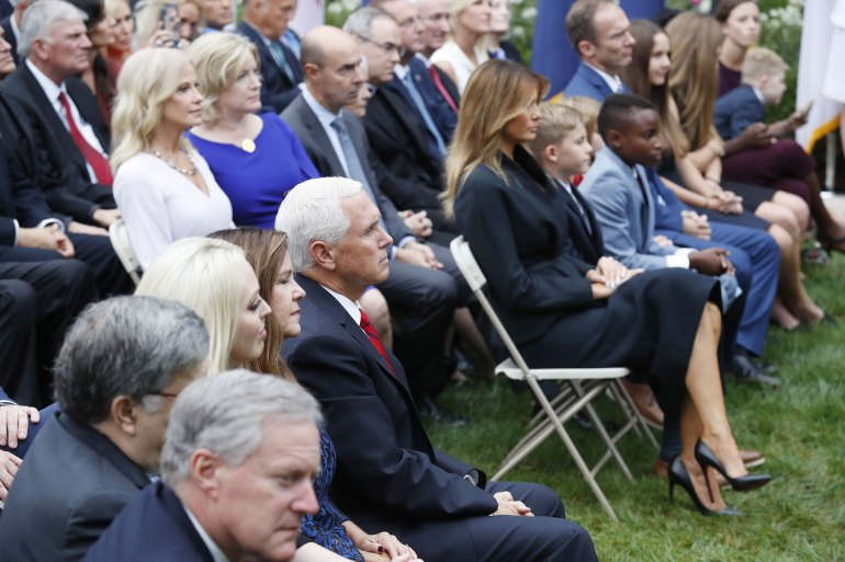 Many in Trump's entourage, here seen in the Rose Garden at a ceremony on September 26, regularly do not wear face masks [Shawn Thew/EPA]