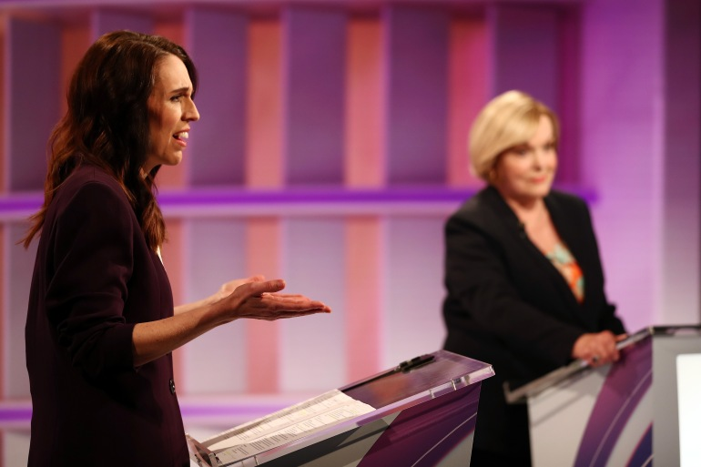 National Party leader Judith Collins and Prime Minister Jacinda Ardern speak during the TVNZ's Leaders' Debate on September 22, 2020, in Auckland, New Zealand [File: Fiona Goodall/Getty Images]