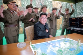 North Korean leader Kim Jong Un reacts during a test launch of ground-to-ground medium long-range ballistic rocket Hwasong-10 in this photo released by North Korea's Korean Central News Agency (KCNA) on June 23, 2016 [File: KCNA via Reuters]
