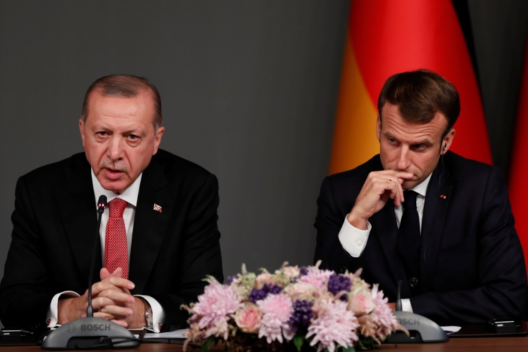 Earlier this month, Macron pledged to fight 'Islamist separatism' in France, drawing a sharp rebuke from Erdogan [File: Murad Sezer/Reuters]