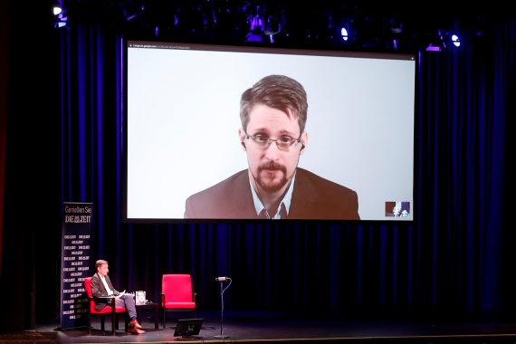 Edward Snowden speaks via video link as he takes part in a discussion about his book Permanent Record with German journalist Holger Stark in Berlin, Germany, September 17, 2019 [Fabrizio Bensch/Reuters]