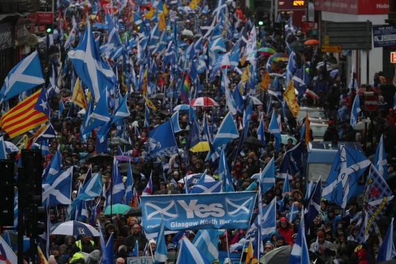 Demonstrators march for Scottish independence through Glasgow City centre, Scotland, Britain on January 11, 2020 [File: Russell Cheyne/Reuters]
