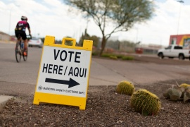 Latino voters will be crucial for winning Arizona in the United States election [File: Cheney Orr/Reuters]