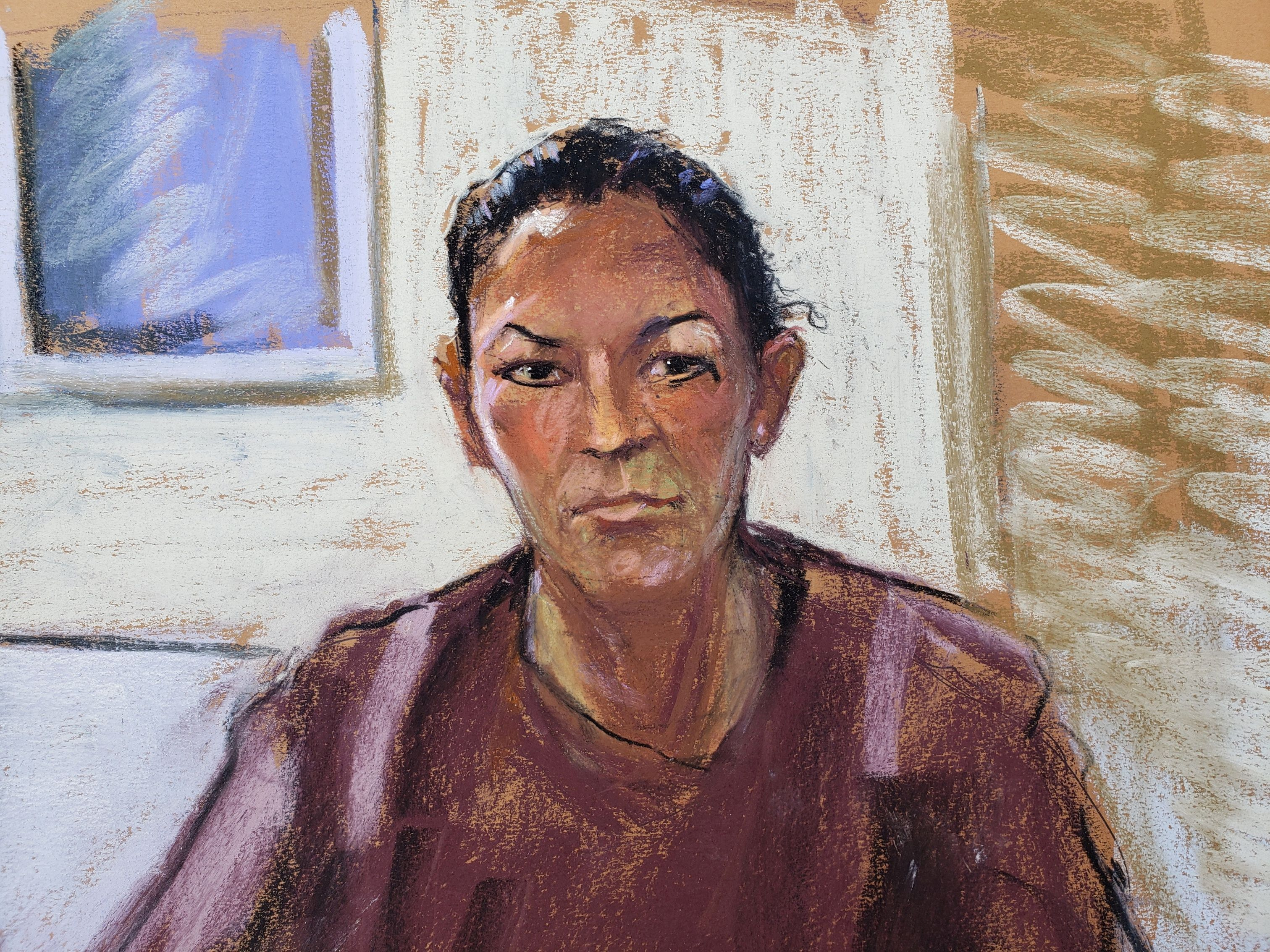 Sketch of Ghislaine Maxwell appearing via video link during her arraignment hearing where she was denied bail