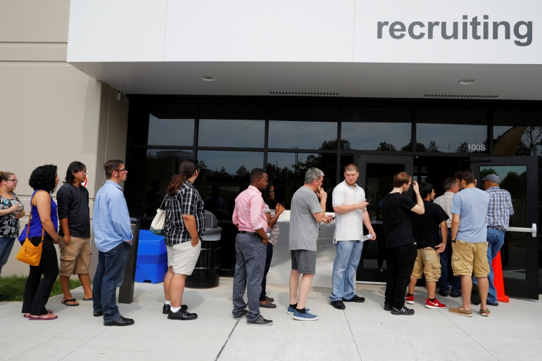 The September jobs report is the last monthly snapshot of the US labour market American voters will see before the November 3 presidential election [File: Brian Snyder/Reuters]