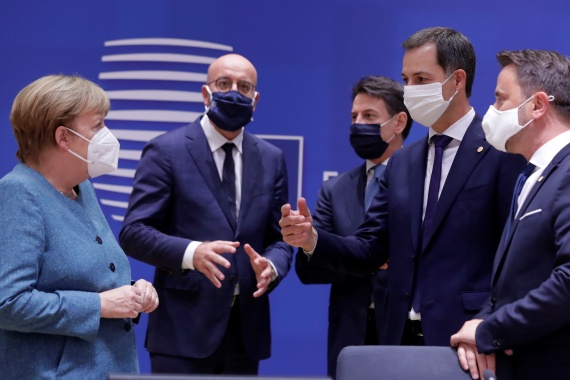 Germany's Chancellor Angela Merkel, European Council President Charles Michel, Italy's Prime Minister Giuseppe Conte, Belgium's Prime Minister Alexander De Croo and Luxembourg's Prime Minister Xavier Bettel talk at the start of the second face-to-face European Union summit since the coronavirus disease (COVID-19) outbreak, in Brussels, Belgium October 1, 2020 [Olivier Hoslet/Pool via Reuters]