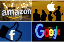 Amazon, Apple, Facebook, Google and Microsoft are worth more than $5 trillion [File: Matthew Lewis/Reuters]