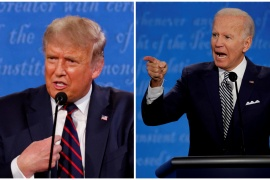 Trump and Biden speaking during the first 2020 presidential campaign debate in Cleveland, Ohio, on September 29, 2020 [File: Brian Snyder/Reuters]