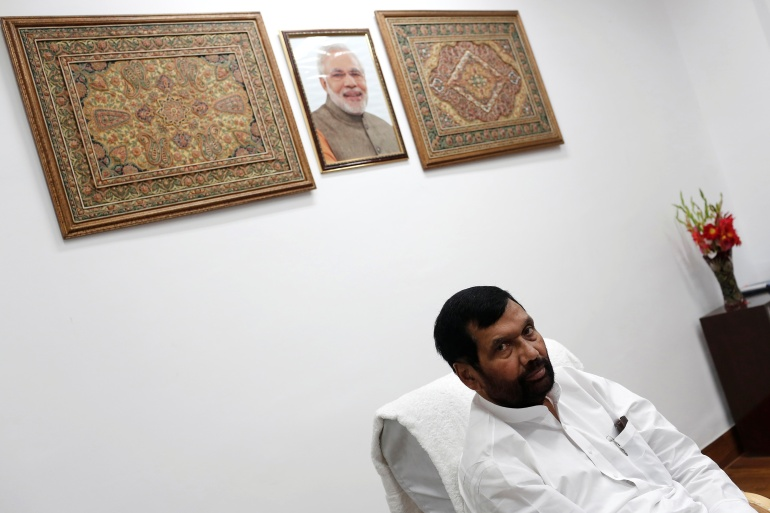 Paswan during an interview with Reuters news agency in New Delhi in this November 12, 2014 photo [File: Adnan Abidi/Reuters]