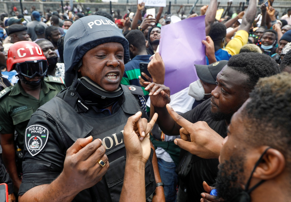 Anger over police brutality boiled over last week after a video went viral showing the alleged killing of a man by a police officer in southern Delta state, a video that authorities denied was real. [Temilade Adelaja/Reuters]