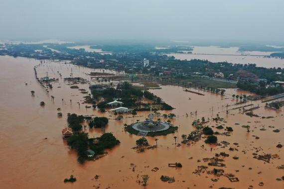 Flooded villages are seen in Quang Tri province, Vietnam on October 13, 2020 [Ho Cau/VNA via Reuters]