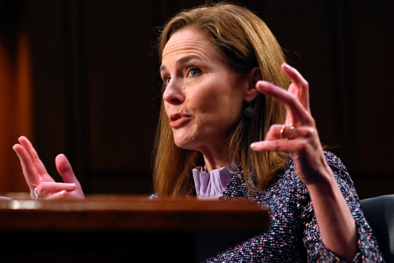 Judge Amy Coney Barrett speaks during the third day of her Senate confirmation hearing to the Supreme Court on Capitol Hill in Washington, DC on October 14, 2020 [Reuters/Andrew Caballero-Reynolds]