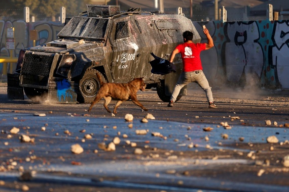 Chile has been roiled by continuing and sometimes violent street protests since the uprising on last October when a student protest over a modest increase in subway fares turned into a much larger and broader movement with a long list of demands that largely focus on inequality. [Rodrigo Garrido/Reuters]