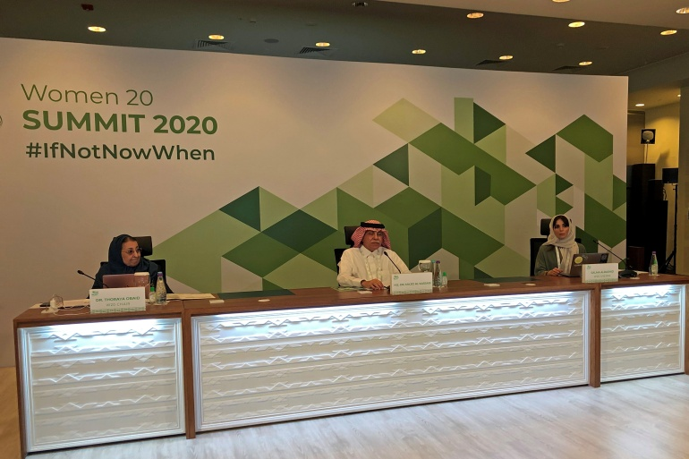 The legislators' letter came as Riyadh on Wednesday began a two-day Women 20 conference before the G20 summit [Mohammed Benmansour/Reuters]