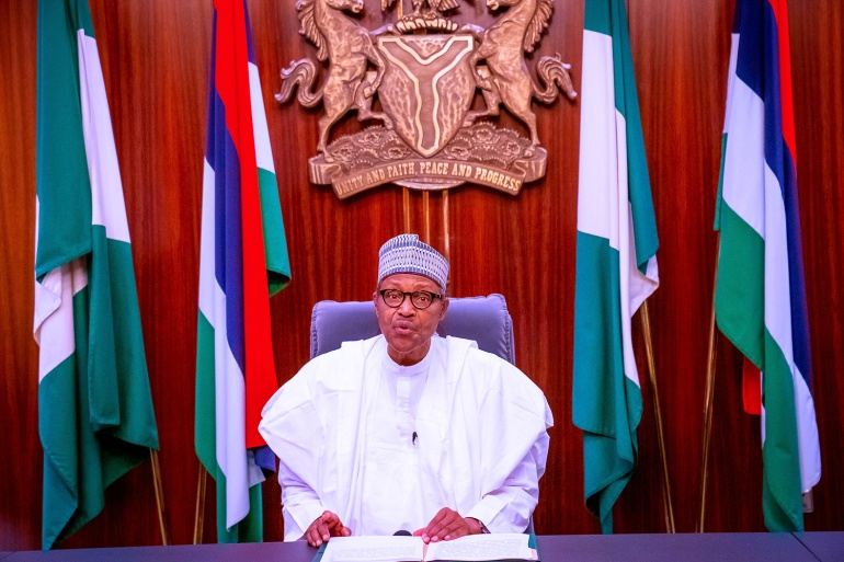 In a televised address, Nigerian President Muhammadu Buhari warned protesters against being used by 'subversive elements' [Reuters]