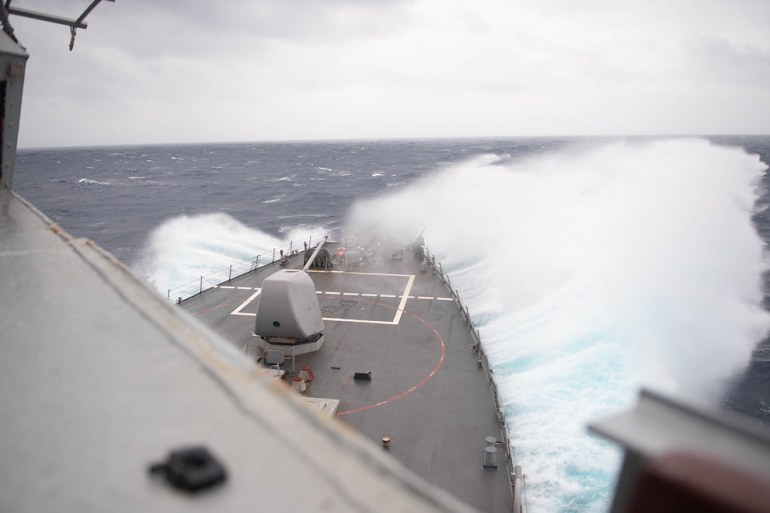 The USS Barry travels through the Taiwan Strait [Mass Communication Specialist Seaman Molly M Crawford/US Navy handout]