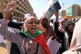 Women chant slogans to protest Sudanese President of the Sovereignty Council Abdel Fattah Abdelrahman Burhan's contentious decision to meet Israel's prime minister last week in a move toward normalising relations, in Khartoum on February 7, 2020 [File: AP/Marwan Ali]
