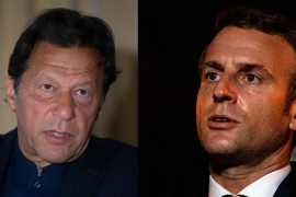On Sunday, Pakistani Prime Minister Imran Khan (left) accused French President Emmanuel Macron (right) of encouraging hate speech and radicalisation among Muslims [AP]