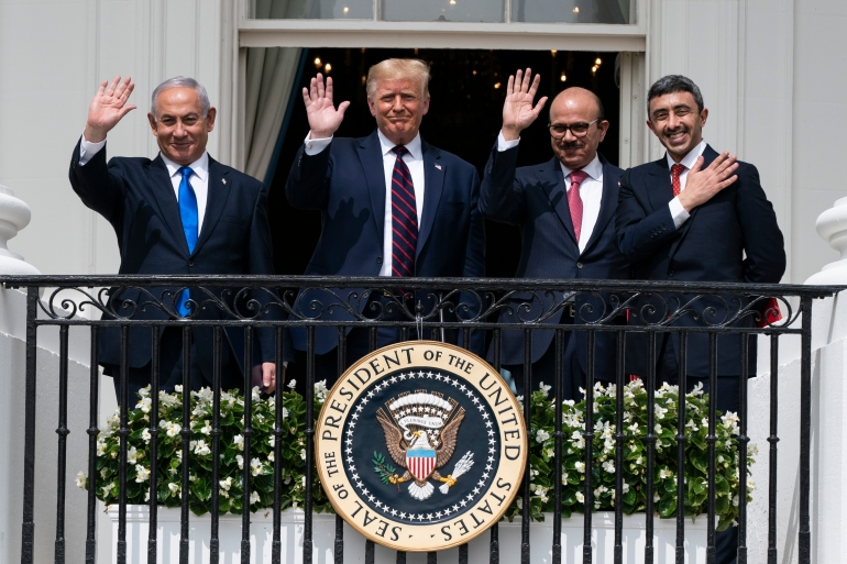 Israeli Prime Minister Benjamin Netanyahu, US President Donald Trump, Bahrain Foreign Minister Khalid bin Ahmed Al Khalifa and UAE Foreign Minister Abdullah bin Zayed al-Nahyan pose for a photo on the Blue Room Balcony at the White House in Washington on September 15, 2020 [AP Photo/Alex Brandon]