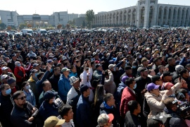 People protest during a rally on the central square in Bishkek, Kyrgyzstan, October 7, 2020 [Vladimir Voronin/AP]
