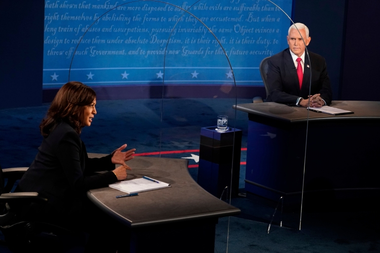 Tough And Pointed Analysts Say Harris Got The Better Of Pence Us Canada Al Jazeera