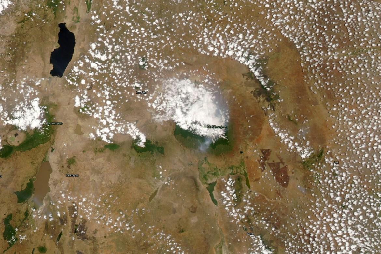 Satellite image taken by NASA on Monday shows Mount Kilimanjaro. [NASA via AP Photo]