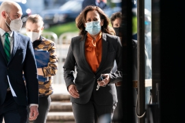 Kamala Harris has not been in close contact with those infected 'as defined by the CDC' her campaign said [Jacquelyn Martin/AP]