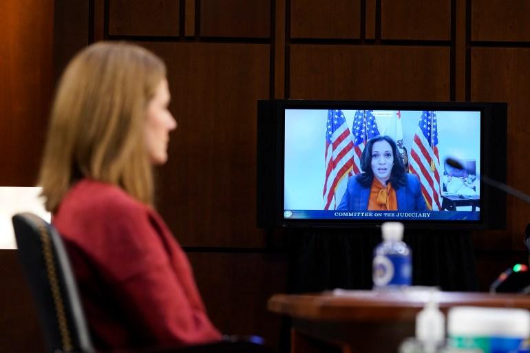 Kamala Harris Questions Supreme Court Nominee Us Election News Us Canada Al Jazeera