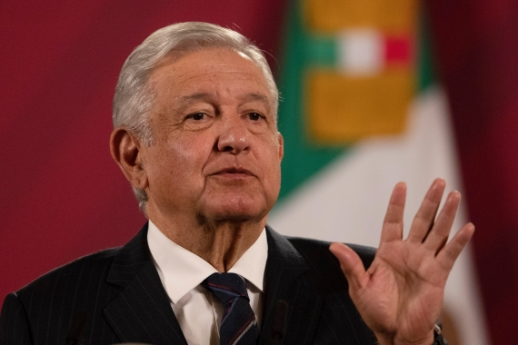Mexican President Andres Manuel Lopez Obrador giving his daily, morning news conference at the presidential palace, Palacio Nacional, in Mexico City, Mexico [Marco Ugarte/AP Photo]