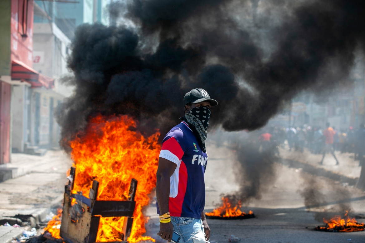 The opposition organised the large demonstration against President Moise on the anniversary of the killing of national independence hero Jean-Jacques Dessalines. [Dieu Nalio Chery/AP Photo]