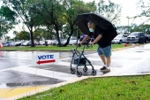 A man walks through the rain on his way to an early voting site in Florida [Lynne Sladky/The Associated Press]