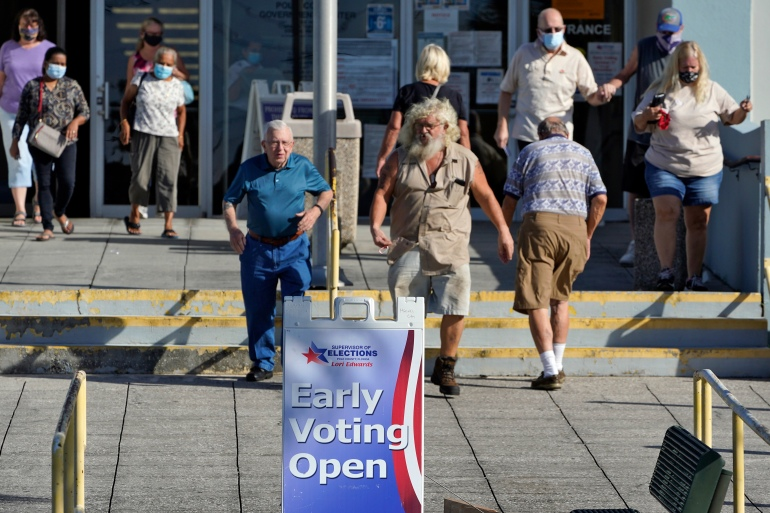 Voters in Lakeland, Florida after casting their ballots early, October 19, 2020 [Chris O'Meara/AP]