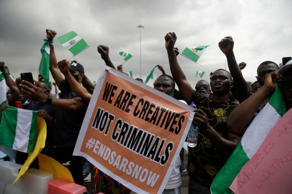 The demonstrations began two weeks ago in response to a video that circulated online showing a man being beaten, apparently by members of the police Special Anti Robbery Squad (SARS). [Sunday Alamba/AP Photo]