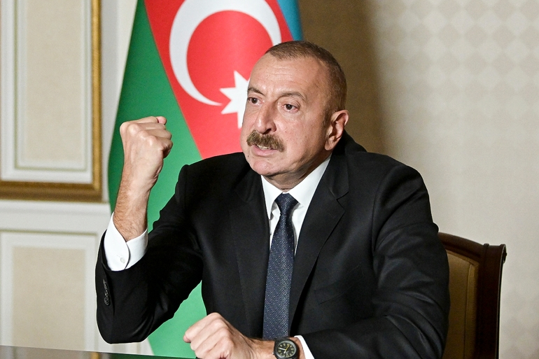 In this photo provided by the Azerbaijan's Presidential Press Office on Oct 20, 2020, Azerbaijani President Ilham Aliyev gestures as he addresses the nation in Baku, Azerbaijan [Azerbaijani Presidential Press Office via AP]
