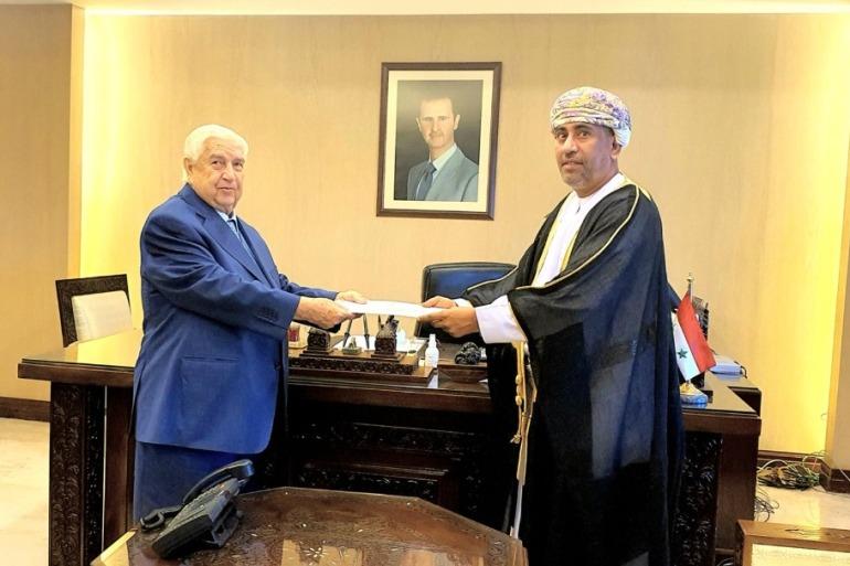 Walid al-Muallem, Syria's deputy prime minister and foreign minister, receives the credentials of Oman's Ambassador Turki bin Mahmood al-Busaidy [Omani News Agency]