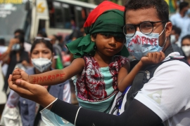Bangladeshi students made a protest against an alleged gang-rape and stripping and torturing of a woman in the southern district of Noakhali during a demonstration in Dhaka, Bangladesh, on October 6, 2020. (Photo by Mehedi Hasan/NurPhoto via Getty Images) (Getty Images)