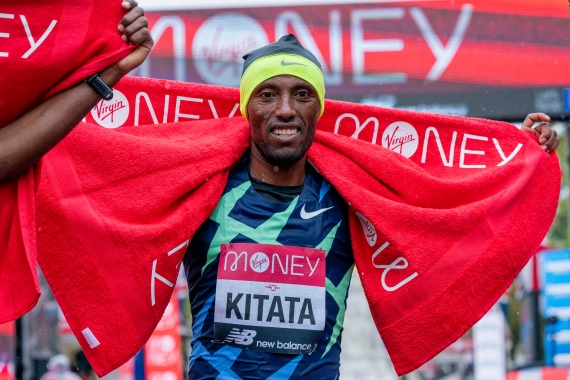 Shura Kitata of Ethiopia celebrates after winning in the Elite Men's race during the 2020 Virgin Money London Marathon [Getty Images]
