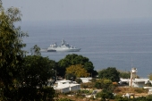 An Israeli navy corvette is pictured from the southern Lebanese border town of Naqura [File: AFP]