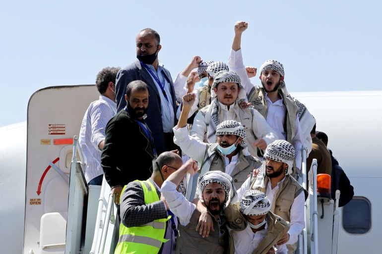 The Houthis said 671 prisoners arrived in Sanaa during the process [Khaled Abdullah/Reuters]