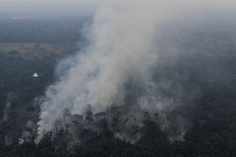 The Amazon rainforest in Brazil is experiencing its worst rash of fires in 10 years, even though preliminary government data showed deforestation dropped by 5 percent in the first eight months of 2020. [File: Ueslei Marcelino/Reuters]