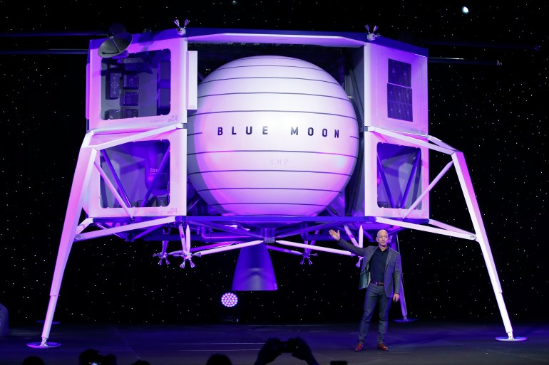 Led by Amazon founder Jeff Bezos, Blue Origin is marshalling a team of companies to develop a lunar lander for astronauts [File: Patrick Semansky/AP Photo]