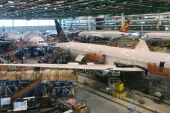 Boeing 787 Dreamliners are shown in final production at widebody factory in North Charleston, South Carolina, where Boeing plans to move the rest of model's production next year [File: Eric Johnson/Reuters]