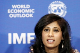 Gita Gopinath, chief economist at the International Monetary Fund, warned on Tuesday that inequality within countries is growing with low-skilled workers, women and young people hardest hit by the coronavirus crisis [File: Rodrigo Garrido/Reuters]