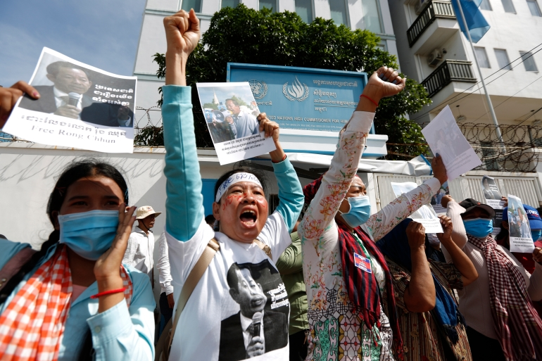 Supporters of Rong Chhun, the president of the Cambodian Trade Union Confederation, call for his release - part of a widening crackdown on critical voices in Cambodia [File: Kith Serey/EPA]