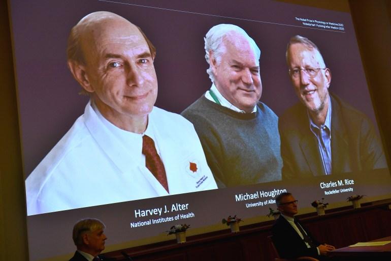 The award for work on a virus comes as the world battles the new coronavirus pandemic. [Claudio Bresciani/EPA]