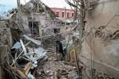House damaged by shelling in downtown Ganja, Agdam region [Aziz Karimov/EPA]
