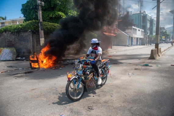Hundreds took part in anti-government protests in Port-au-Prince. [Jean Marc Herve Abelard/EPA]